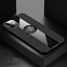 Silikon Hülle Handyhülle Ultra Dünn Schutzhülle Tasche Silikon mit Magnetisch Fingerring Ständer T03 für Apple iPhone 11 Schwarz
