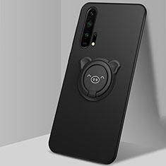 Silikon Hülle Handyhülle Ultra Dünn Schutzhülle Tasche Silikon mit Magnetisch Fingerring Ständer T03 für Huawei Honor 20 Pro Schwarz