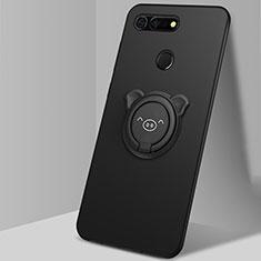 Silikon Hülle Handyhülle Ultra Dünn Schutzhülle Tasche Silikon mit Magnetisch Fingerring Ständer T03 für Huawei Honor V20 Schwarz
