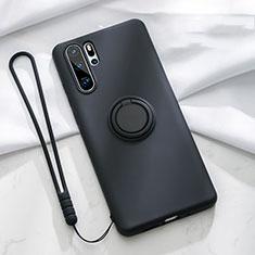 Silikon Hülle Handyhülle Ultra Dünn Schutzhülle Tasche Silikon mit Magnetisch Fingerring Ständer T03 für Huawei P30 Pro Schwarz