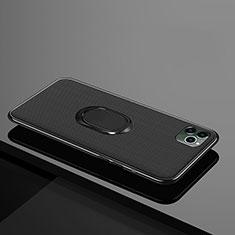 Silikon Hülle Handyhülle Ultra Dünn Schutzhülle Tasche Silikon mit Magnetisch Fingerring Ständer T04 für Apple iPhone 11 Pro Max Schwarz