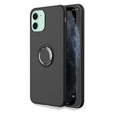 Silikon Hülle Handyhülle Ultra Dünn Schutzhülle Tasche Silikon mit Magnetisch Fingerring Ständer T04 für Apple iPhone 11 Schwarz
