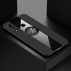 Silikon Hülle Handyhülle Ultra Dünn Schutzhülle Tasche Silikon mit Magnetisch Fingerring Ständer T04 für Huawei Honor 20 Lite Schwarz