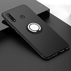 Silikon Hülle Handyhülle Ultra Dünn Schutzhülle Tasche Silikon mit Magnetisch Fingerring Ständer T04 für Huawei Nova 4e Schwarz