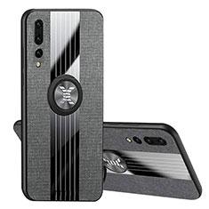 Silikon Hülle Handyhülle Ultra Dünn Schutzhülle Tasche Silikon mit Magnetisch Fingerring Ständer T04 für Huawei P20 Pro Schwarz