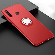 Silikon Hülle Handyhülle Ultra Dünn Schutzhülle Tasche Silikon mit Magnetisch Fingerring Ständer T04 für Huawei P30 Lite Rot