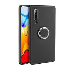 Silikon Hülle Handyhülle Ultra Dünn Schutzhülle Tasche Silikon mit Magnetisch Fingerring Ständer T04 für Huawei P30 Schwarz