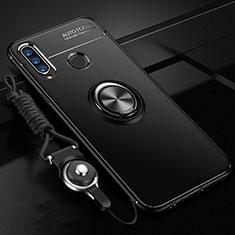 Silikon Hülle Handyhülle Ultra Dünn Schutzhülle Tasche Silikon mit Magnetisch Fingerring Ständer T05 für Huawei Honor 20 Lite Schwarz