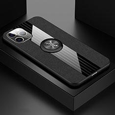 Silikon Hülle Handyhülle Ultra Dünn Schutzhülle Tasche Silikon mit Magnetisch Fingerring Ständer T06 für Apple iPhone 11 Pro Schwarz