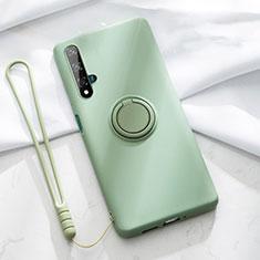 Silikon Hülle Handyhülle Ultra Dünn Schutzhülle Tasche Silikon mit Magnetisch Fingerring Ständer T06 für Huawei Nova 5T Grün
