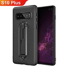 Silikon Hülle Handyhülle Ultra Dünn Schutzhülle Tasche Silikon mit Ständer für Samsung Galaxy S10 Plus Schwarz
