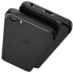 Silikon Hülle Handyhülle Ultra Dünn Schutzhülle U02 für Apple iPhone 5S Schwarz