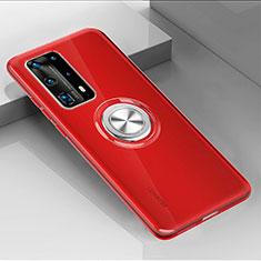 Silikon Hülle Handyhülle Ultradünn Schutzhülle Flexible Tasche Durchsichtig Transparent mit Magnetisch Fingerring Ständer C01 für Huawei P40 Pro+ Plus Rot