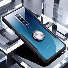 Silikon Hülle Handyhülle Ultradünn Schutzhülle Flexible Tasche Durchsichtig Transparent mit Magnetisch Fingerring Ständer C01 für OnePlus 7T Pro Schwarz