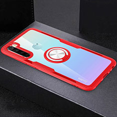 Silikon Hülle Handyhülle Ultradünn Schutzhülle Flexible Tasche Durchsichtig Transparent mit Magnetisch Fingerring Ständer C01 für Xiaomi Redmi Note 8 Rot