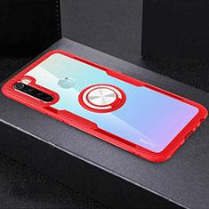 Silikon Hülle Handyhülle Ultradünn Schutzhülle Flexible Tasche Durchsichtig Transparent mit Magnetisch Fingerring Ständer C01 für Xiaomi Redmi Note 8T Rot