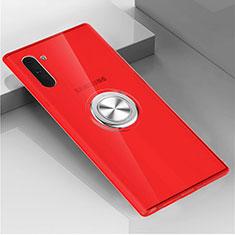 Silikon Hülle Handyhülle Ultradünn Schutzhülle Flexible Tasche Durchsichtig Transparent mit Magnetisch Fingerring Ständer C02 für Samsung Galaxy Note 10 5G Rot