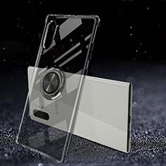 Silikon Hülle Handyhülle Ultradünn Schutzhülle Flexible Tasche Durchsichtig Transparent mit Magnetisch Fingerring Ständer C02 für Samsung Galaxy Note 10 Plus 5G Schwarz