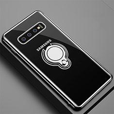 Silikon Hülle Handyhülle Ultradünn Schutzhülle Flexible Tasche Durchsichtig Transparent mit Magnetisch Fingerring Ständer C02 für Samsung Galaxy S10 5G Schwarz