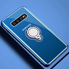 Silikon Hülle Handyhülle Ultradünn Schutzhülle Flexible Tasche Durchsichtig Transparent mit Magnetisch Fingerring Ständer C02 für Samsung Galaxy S10 Plus Blau