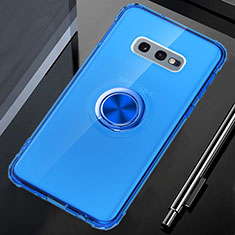 Silikon Hülle Handyhülle Ultradünn Schutzhülle Flexible Tasche Durchsichtig Transparent mit Magnetisch Fingerring Ständer C02 für Samsung Galaxy S10e Blau