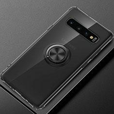 Silikon Hülle Handyhülle Ultradünn Schutzhülle Flexible Tasche Durchsichtig Transparent mit Magnetisch Fingerring Ständer C03 für Samsung Galaxy S10 Plus Schwarz