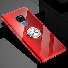 Silikon Hülle Handyhülle Ultradünn Schutzhülle Flexible Tasche Durchsichtig Transparent mit Magnetisch Fingerring Ständer C04 für Huawei Mate 20 X 5G Rot