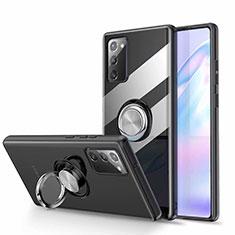 Silikon Hülle Handyhülle Ultradünn Schutzhülle Flexible Tasche Durchsichtig Transparent mit Magnetisch Fingerring Ständer N02 für Samsung Galaxy Note 20 5G Schwarz