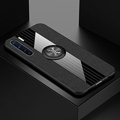 Silikon Hülle Handyhülle Ultradünn Schutzhülle Flexible Tasche Durchsichtig Transparent mit Magnetisch Fingerring Ständer S01 für Oppo A91 Schwarz