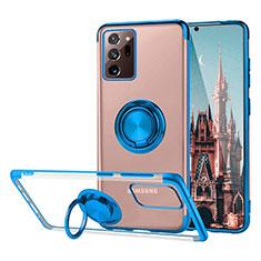 Silikon Hülle Handyhülle Ultradünn Schutzhülle Flexible Tasche Durchsichtig Transparent mit Magnetisch Fingerring Ständer S01 für Samsung Galaxy Note 20 Ultra 5G Blau