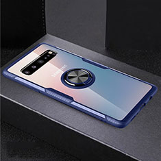 Silikon Hülle Handyhülle Ultradünn Schutzhülle Flexible Tasche Durchsichtig Transparent mit Magnetisch Fingerring Ständer S01 für Samsung Galaxy S10 5G SM-G977B Blau und Schwarz