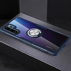 Silikon Hülle Handyhülle Ultradünn Schutzhülle Tasche Durchsichtig Transparent mit Fingerring Ständer C03 für Huawei P30 Pro Blau