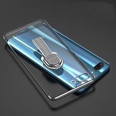 Silikon Hülle Handyhülle Ultradünn Schutzhülle Tasche Durchsichtig Transparent mit Fingerring Ständer für Huawei Honor 10 Grau