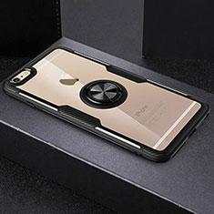 Silikon Hülle Handyhülle Ultradünn Schutzhülle Tasche Durchsichtig Transparent mit Fingerring Ständer R01 für Apple iPhone 6S Schwarz