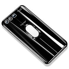Silikon Hülle Handyhülle Ultradünn Schutzhülle Tasche Durchsichtig Transparent mit Fingerring Ständer S01 für Huawei Honor 9 Premium Schwarz