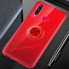 Silikon Hülle Handyhülle Ultradünn Schutzhülle Tasche Durchsichtig Transparent mit Magnetisch Fingerring Ständer C01 für Huawei Honor 20i Rot