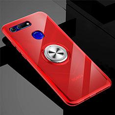 Silikon Hülle Handyhülle Ultradünn Schutzhülle Tasche Durchsichtig Transparent mit Magnetisch Fingerring Ständer C01 für Huawei Honor V20 Rot