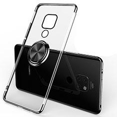Silikon Hülle Handyhülle Ultradünn Schutzhülle Tasche Durchsichtig Transparent mit Magnetisch Fingerring Ständer C01 für Huawei Mate 20 Schwarz