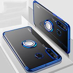 Silikon Hülle Handyhülle Ultradünn Schutzhülle Tasche Durchsichtig Transparent mit Magnetisch Fingerring Ständer C01 für Huawei P30 Lite XL Blau