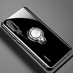 Silikon Hülle Handyhülle Ultradünn Schutzhülle Tasche Durchsichtig Transparent mit Magnetisch Fingerring Ständer C01 für Huawei P30 Schwarz