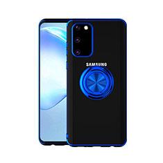 Silikon Hülle Handyhülle Ultradünn Schutzhülle Tasche Durchsichtig Transparent mit Magnetisch Fingerring Ständer C01 für Samsung Galaxy S20 5G Blau