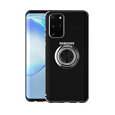 Silikon Hülle Handyhülle Ultradünn Schutzhülle Tasche Durchsichtig Transparent mit Magnetisch Fingerring Ständer C01 für Samsung Galaxy S20 Plus 5G Schwarz