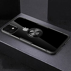 Silikon Hülle Handyhülle Ultradünn Schutzhülle Tasche Durchsichtig Transparent mit Magnetisch Fingerring Ständer C02 für Apple iPhone 11 Schwarz