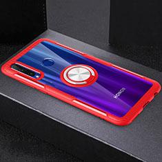 Silikon Hülle Handyhülle Ultradünn Schutzhülle Tasche Durchsichtig Transparent mit Magnetisch Fingerring Ständer C02 für Huawei Honor 20 Lite Rot
