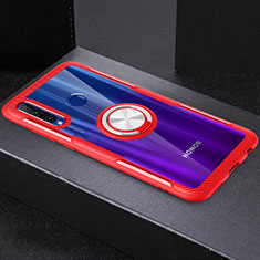 Silikon Hülle Handyhülle Ultradünn Schutzhülle Tasche Durchsichtig Transparent mit Magnetisch Fingerring Ständer C02 für Huawei Honor 20i Rot