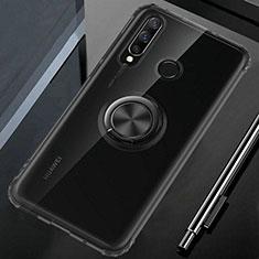 Silikon Hülle Handyhülle Ultradünn Schutzhülle Tasche Durchsichtig Transparent mit Magnetisch Fingerring Ständer C02 für Huawei Nova 4e Schwarz