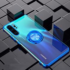 Silikon Hülle Handyhülle Ultradünn Schutzhülle Tasche Durchsichtig Transparent mit Magnetisch Fingerring Ständer C02 für Huawei P30 Pro Blau