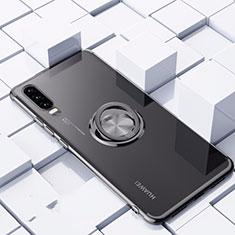 Silikon Hülle Handyhülle Ultradünn Schutzhülle Tasche Durchsichtig Transparent mit Magnetisch Fingerring Ständer C02 für Huawei P30 Schwarz