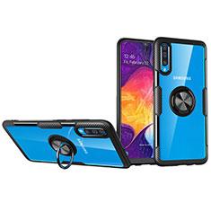 Silikon Hülle Handyhülle Ultradünn Schutzhülle Tasche Durchsichtig Transparent mit Magnetisch Fingerring Ständer C02 für Samsung Galaxy A70S Schwarz