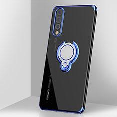 Silikon Hülle Handyhülle Ultradünn Schutzhülle Tasche Durchsichtig Transparent mit Magnetisch Fingerring Ständer C03 für Huawei P20 Pro Blau